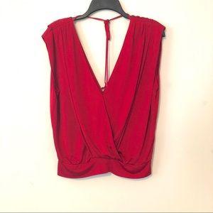 New Bebe Red V-Neckline Tie Back Cap Sleeve Blouse